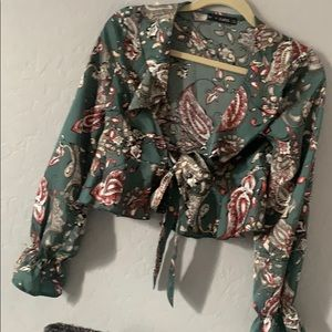 Floral blouse with tie front